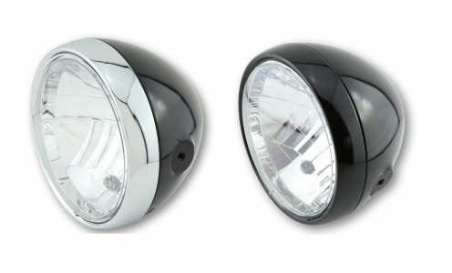E4 approved polished black Clubman headlamp